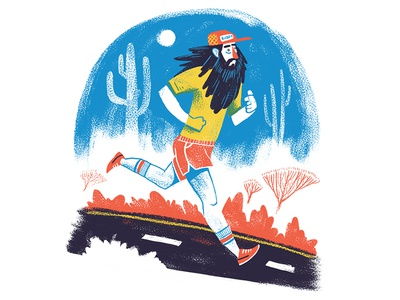 I Just Felt Like Running painting road cactus character beard athletic running