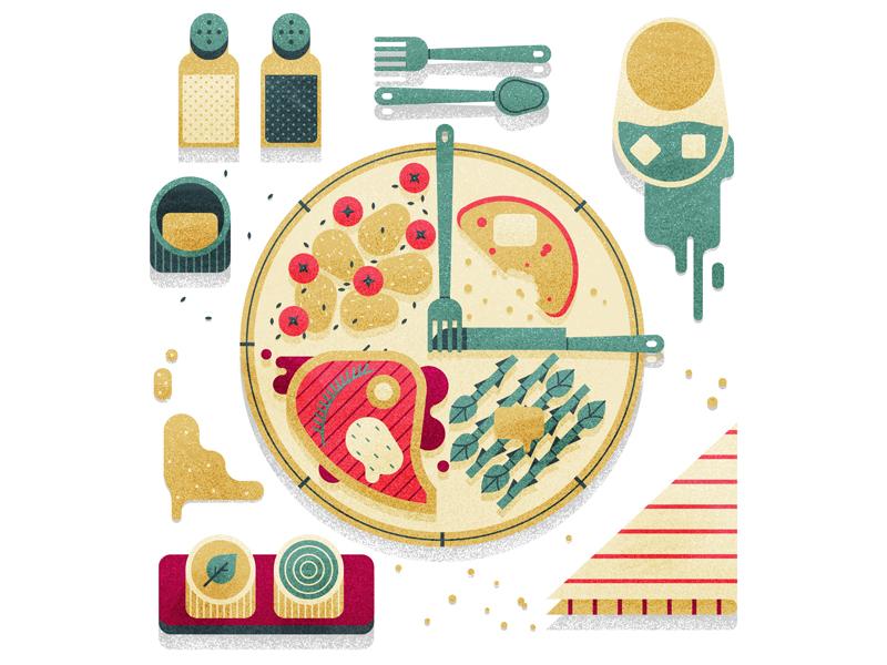Time of Food cooking steak texture editorial flat simple drawn clock vintage retro food illustration