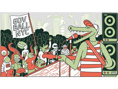 Croc Rock gig rock alligator crocodile music simple vector nyc vintage retro character illustration