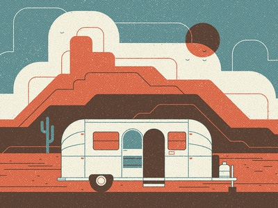 Airstream vector print cloud texture hot retro travel vintage desert camping trailer illustration
