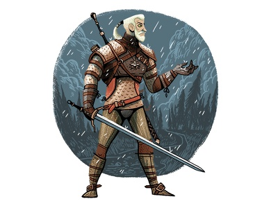 Looks Like Rain   hunt clouds witcher the forest trees wild fight sword rain