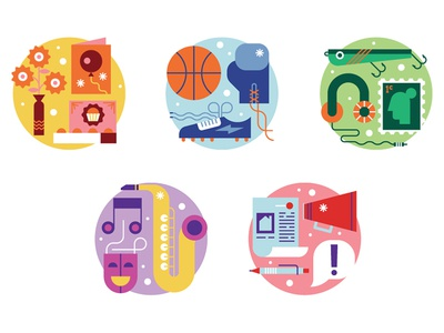 Scania flat gifts sport music hobbies clean design graphic illustration vector icons