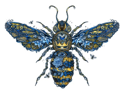 The Bee's Knees drawing flower heart wings creature instect pattern character bee texture digital painting illustration