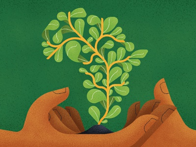 Happy Africa Day! design graphic facebook flat texture growth life plant vector africa hands illustration