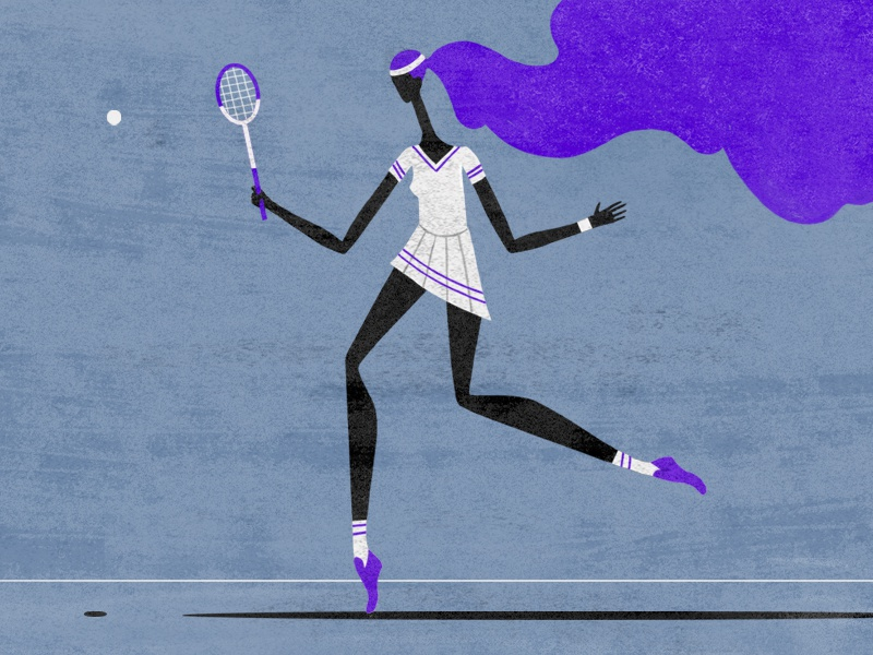 'You should see my backhand!' hair tennis player shadow court racquet retro texture drawing tennis ball illustration character design