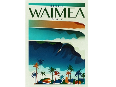Waimea Bay texture retro vintage houses trees palms surfing surf sea ocean swell waves