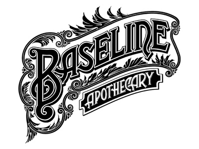 Baseline Lettering drawing hand type custom frame apothecary skateboard typography lettering illustration