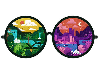 Eyes to See design graphic simple flat plants landscape editorial digital vector spectacles texture illustration
