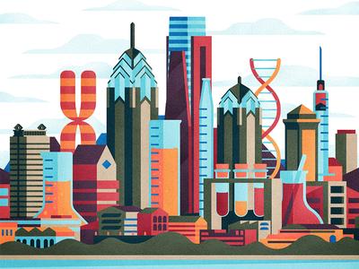 Philadephia philly sky scraper cityscape city dna medical building skyline texture vector illustration