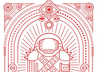 Warrior symbol icons eye line border decoration universe fighter warrior