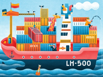 Ahoy anchor seagulls giraffe fishing waves sea ocean flag container ship boat