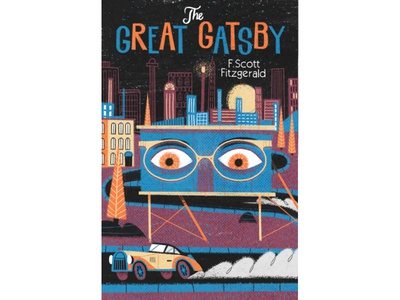 The Great Gatsby city car texture eyes novel simple drawn cover vintage retro book illustration