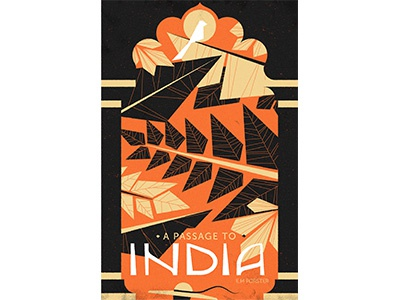 A Passage to India graphic hat texture plants arch simple vector cover vintage retro book illustration