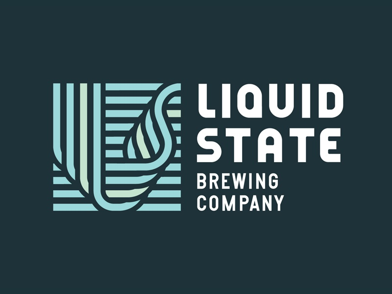 Liquid State water liquid pattern lines type identity mark logo