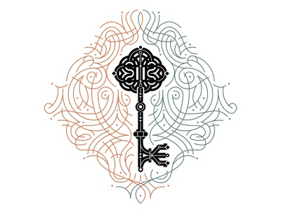 Key balance symmetry vector pattern lines border decoration key