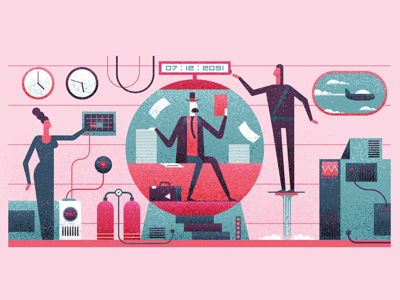Time Travel design graphic simple flat machine fly texture future vector editorial character illustration