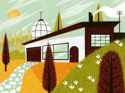 Modern Living smoke driveway path texture clouds sun trees dome home abode villa house