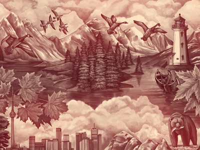 Whittaker's Canada mountain bear ocean city leaf maple clouds geese lighthouse texture digital painting illustration