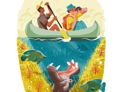 Victoria Falls water danger editorial painting drawn fish hippo people paddle canoe boat raft