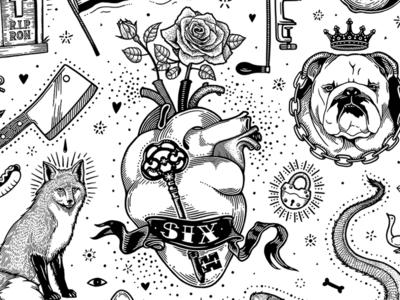 Candy & Iron iron flag moth dog lock rose drawing fox heart flash sheet tattoo illustration