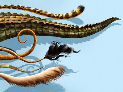 Tails! art vintage retro cheetah crocodile wild painted drawing tail animal editorial illustration