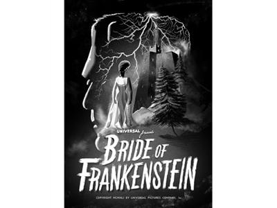 Bride of Frankenstein monster noir film typography texture frankenstein movie poster horror lettering illustration