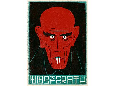 Nosferatu art vintage retro poster classic vampire texture drawing film horror character illustration
