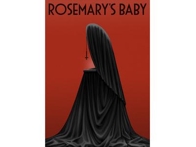 Rosemary's Baby film fabric lettering poster baby crib horror movie cross texture digital painting illustration