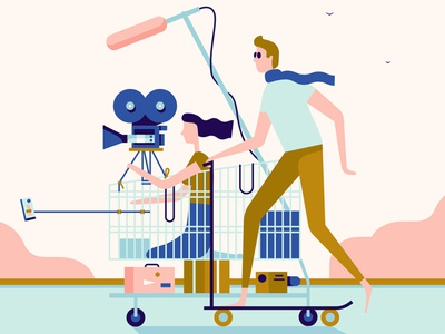 Making Your Own Movie skateboard camera book film character movie flat design vector illustration