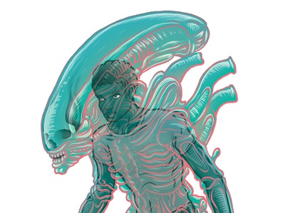 Alien costume editorial man alien creature tail skull character monster texture digital painting illustration