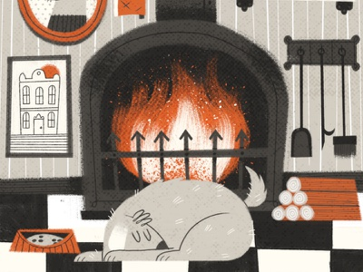 Hearth and Home lounge home sleep winter fireplace tail fire character dog texture digital painting illustration