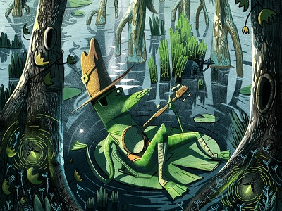 Swampy Symphony art vintage retro insects banjo hat painting drawing swamp frog character illustration
