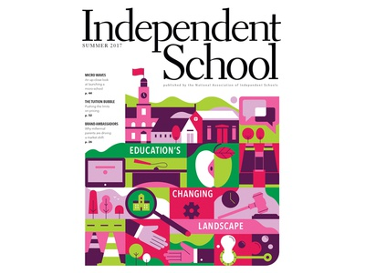 Independent School binoculars laptop bubbles hands houses building school tree computer apple