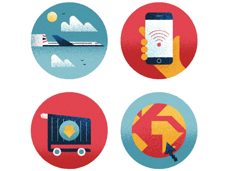 WiFi Onboard design graphic simple flat phone shop texture plane vector editorial icons illustration