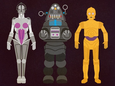 Maria, Robby & C3PO character diagram vector icons movies anatomy robot technical