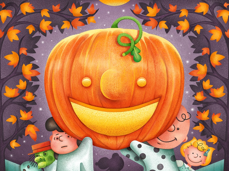 It's The Great Pumpkin, Charlie Brown typography vector peanuts snoopy leaves autumn halloween character pumpkin texture digital painting illustration