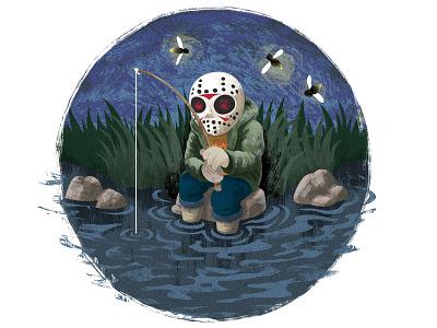 13th drawing night grass lake fishing mask jason character