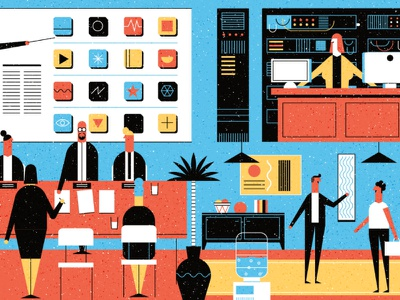 Mckinsey people computer icons ceo scene character office flat design vector illustration