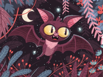 Going Batty flower star bush leaves insect bugs moon night flying wings eyes bat