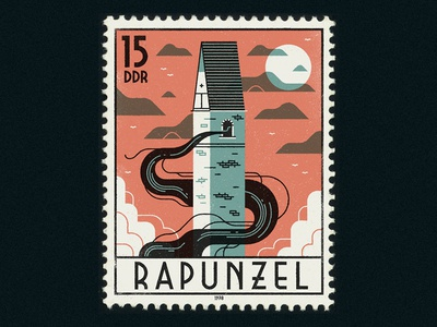 Rapunzel design graphic simple typography retro vintage lettering fairytale vector halloween stamp illustration