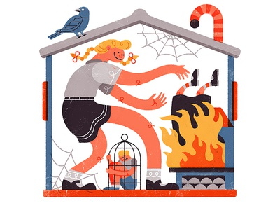 Hansel and Gretel vintage vector character illustration halloween graphic fairytale design
