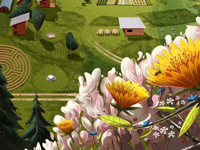 Middlebury poster leaves nature grass pastures shed labyrinth flower garden texture digital painting illustration
