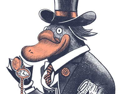 That's MISTER Platypus to you! tophat gentleman creature tail animal watch character platypus texture digital painting illustration