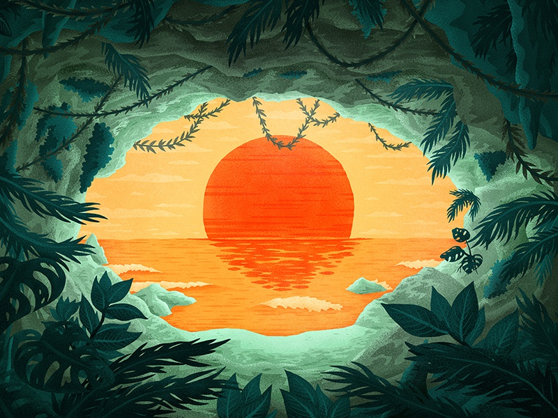 All Seeing view ocean sunset sea jungle plants vines cave eye painting illustration