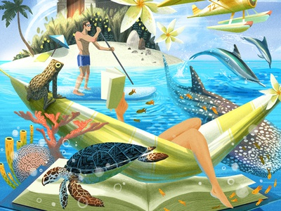 Island Style texture vintage retro book marine vacation painted drawing tropical editorial character illustration