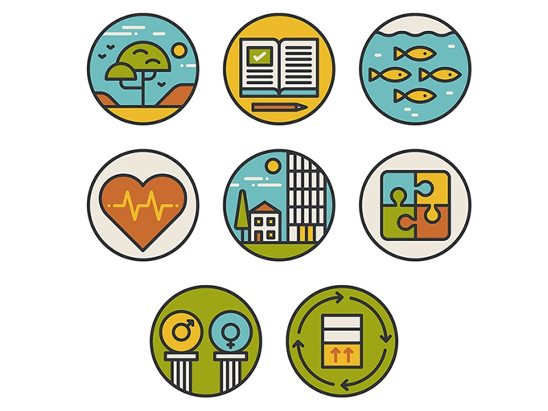 Sustainable Development design graphic simple flat infographic circle badge clean vector iconography icon illustration