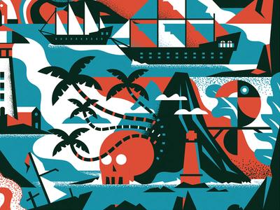 Voyage texture sea ocean leaves toucan bird volcano sail ship palm skull
