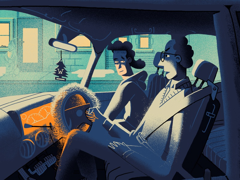 Winter drive art spectacles retro color glow interior painting drawing light car character illustration