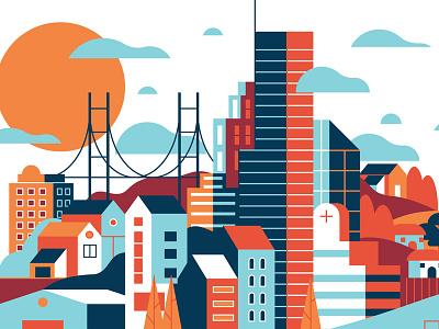 Universal Perspective vector clouds suburb houses sun bridge buildings skyline city