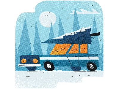 Heading for home design graphic simple flat warmth texture snow xmas vector christmas car illustration